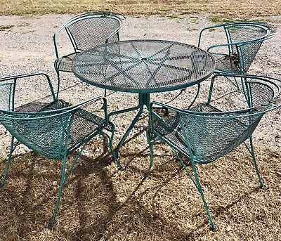 SALTERINI  Wrought Iron Patio Table Chairs Set Mid Century Vintage AC520