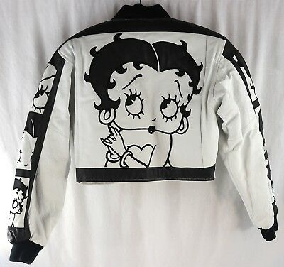 Vintage Betty Boop Leather 1996 Motorcycle White Black Jacket Women's Size S NM