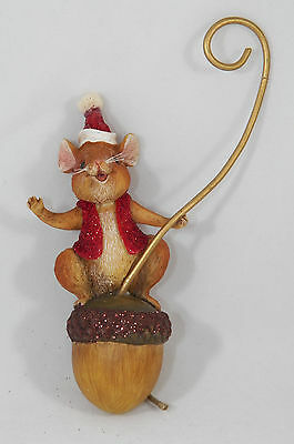 Mouse in Santa Hat on Acorn Christmas Tree Ornament new holiday
