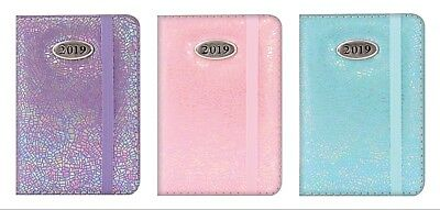 2019 Pocket Diary-Week To View-2154-Textured Pearlescent- Elastic Closure