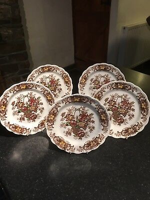 Ridgway Old English Bouquet Brown Deep Rimmed Plates 8""