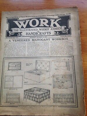 Work The Illustrated Weekly Journal of Handicrafts 10 Oct 1914 Vintage magazine