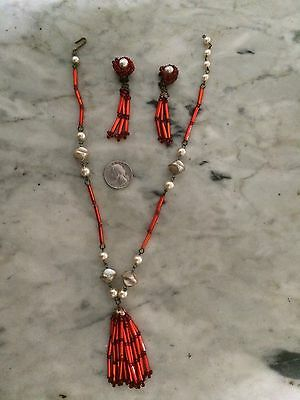 RARE '1930-40 red glass victorian revival tassel indian pearl necklace earrings