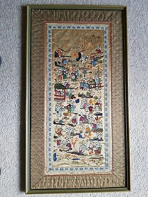 Oriental Embroidered Framed Picture