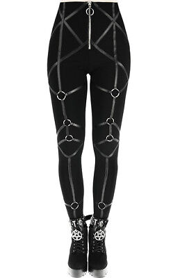 cf15302f4 Restyle Rings Leather Straps Harness Punk Gothic Emo Rocker High Waist  Leggings