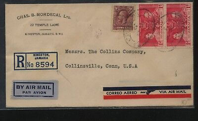 Jamaica   nice registered  cover to  US   1937         MS0829