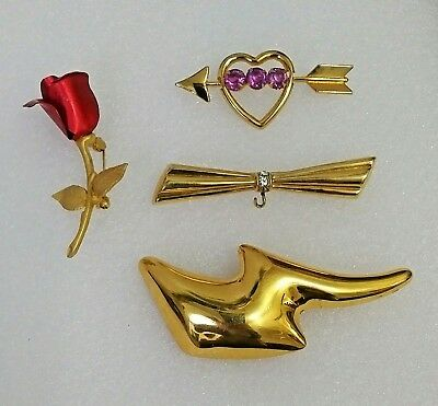 Vintage CORO, MONET, AVON Signed Gold Tone Pin Brooches