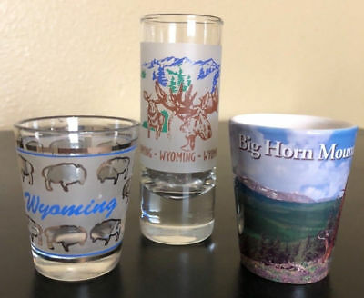 Wyoming Moose Buffalo State & Big Horn Mountain (3) Shot Glass Set - Free Ship!