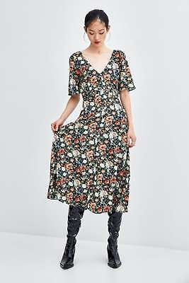 80fffb2a1d9 ZARA Black Floral Multicolor Flowy dress with front and back V-neckline  size XS