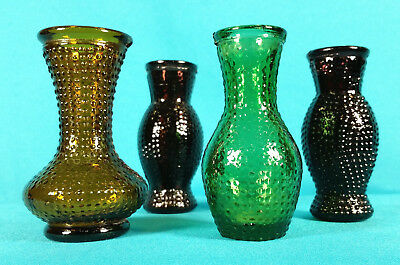 "Lot of 4 Vintage Hobnail Jewel Tone Glass Mini Vases 3"" Tall Marked Taiwan"