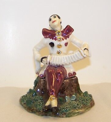 Beautiful Vintage 1950 Signed Hand Painted Porcelain Harlequin Accordion Player