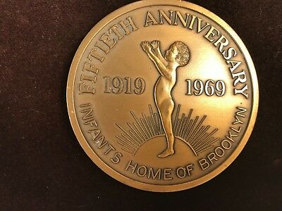 BROOKLYN 50TH ANNIVERSARY Commemorative Bronze Medal Infants Home in Brooklyn NY