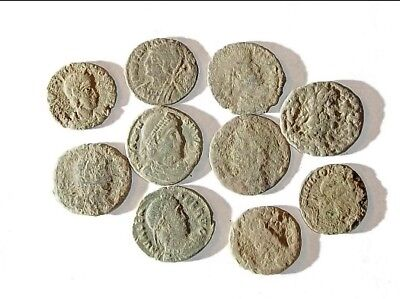 10 ANCIENT ROMAN COINS AE3 - Uncleaned and As Found! - Unique Lot 31912