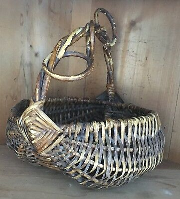 Vintage Hand Woven Buttocks Basket With Twisted Handle