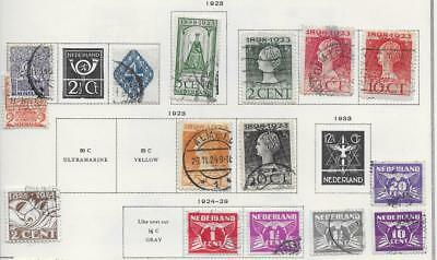 15 Netherlands Stamps from Quality Old Antique Album 1923-1929