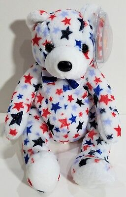 """TY Beanie Babies """"WHITE"""" USA PATRIOTIC TEDDY BEAR - MWMTs! RETIRED! A MUST HAVE!"""