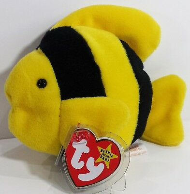 """RARE TY Beanie Babies """"BUBBLES"""" the Fish - MWMTs! RETIRED! PERFECT GIFT! NEW!"""