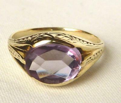 Vintage Art Deco 10k Green Gold 1.75 Ct Amethyst Ring~Beautiful Feathered Mount