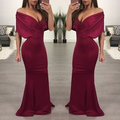 Women Off Shoulder Mermaid Maxi Formal Evening Gown Party Cocktail Dress