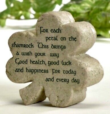 Irish Celtic Shamrock Shaped Plaque w/ Irish Blessing NEW! Boxed