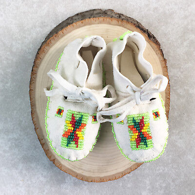 Native American Indian Moccasins Beaded Baby Soft Shoes Leather Boy Girl Infant