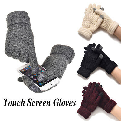 Fashion Women Knitted Wool Full Finger Gloves Touch Screen Warm Thermal Mittens