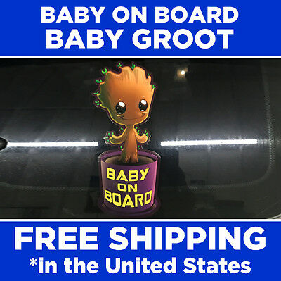 Groot Baby On Board Bumpersticker Pegatina Adhesivo Guardianes Bebé Tiny Groot