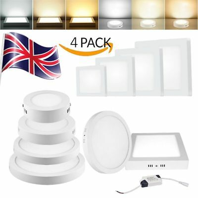4 x Surface Mounted LED Ceiling Downlight Panel Light 6W-24W Round Square Lamp