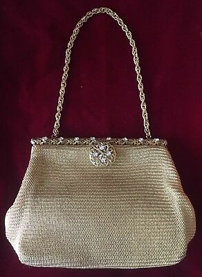 Vintage Whiting And Davis Gold Mesh Purse, Rhinestone Clasp