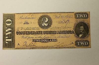$2 Confederate CSA Currency Type 70 Dated Feb 17, 1864 CSA UNC K458