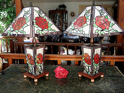 STUNNING HM PAIR Stained Glass Table Lamps w Nightlights ROSES Wood Bases Signed