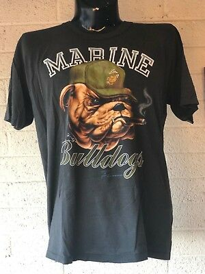 Vintage 3d Emblem MARINE BULLDOGS 1989 MADE IN USA SOFT N THIN