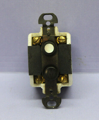 Vintage H&H Porcelain Push Button Momentary Switch - Double-Pole - 2 Circuits