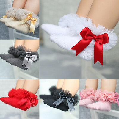 1Pair Princess Lace Tutu Socks With Bow Infant Baby Girls Frilly Short Socks New