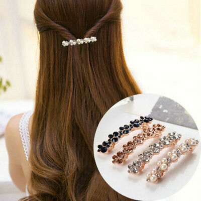 Elegant Women Girl Barrettes Crystal Hair Clip Pearl Hairpin Headdress Accessory