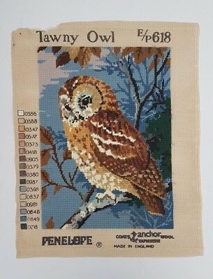 True Vintage Penelope Needlepoint Tapestry 'Tawny Owl' E/P 618 Completed