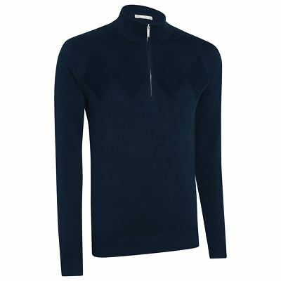 Ashworth Chest Diamond Thermal Lined Wind Sweater Mens Golf Pullover Navy Small