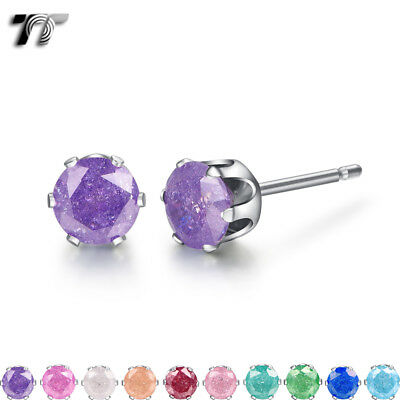 TT Stainless Steel ICE Style CZ Round Stud Earrings 3-6mm 10 Cololurs (ER19) NEW