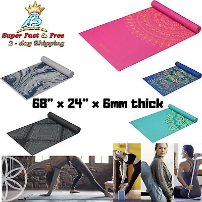 Yoga Mat Premium 6mm Print Extra Thick All Purpose Fitness Floor Exercise