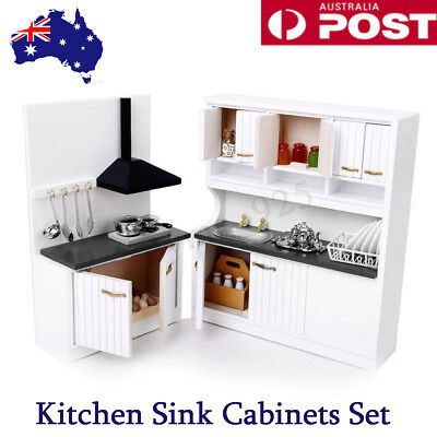 European Miniature Doll House Wooden Furniture 1/12 Kitchen Sink Cabinets Set AU