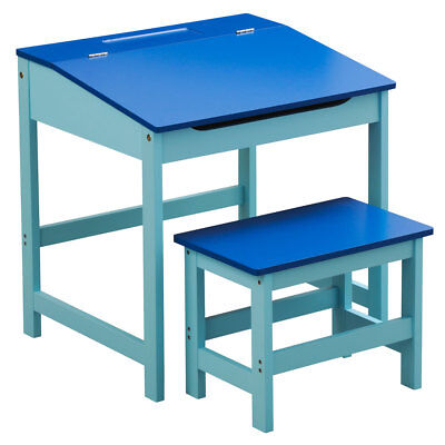 Blue Kids Children Study Activity Desk Table And Stool Chair Seat Furniture Set
