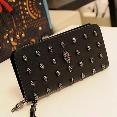 Day of the Dead Women Wristlet Purse Skull Punk Art Rivet Studded Wallet 8C