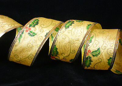 3 m Holly Wired Ribbon, 50 mm wide, gold, green, red, Christmas