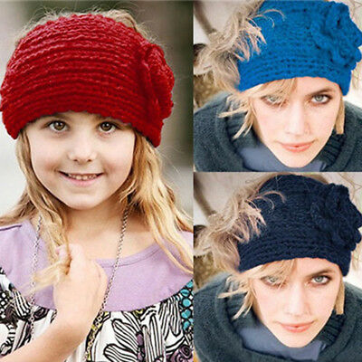 Womens Ladies Flower Winter Warm Crochet Knitted Wool Headband Headwrap Strict