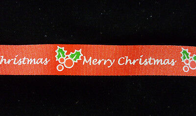 Merry Christmas Ribbon, red, silver letters, holly detailing, 15 mm wide
