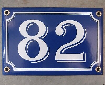 Vintage French Blue Enamel Porcelain Door House Gate Number Sign Plate 82