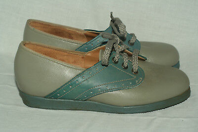 Buster Brown blue gray brogue oxfords child 9.5 D medium Made in USA NOS