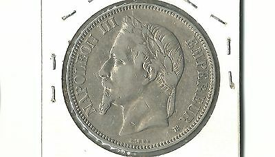 France 1868 BB  5 francs silver coin