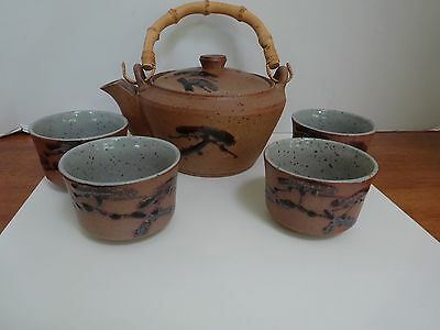 Vintage JAPAN Pottery Teapot & 4 Cups, Bamboo Handle, Decorative Hand Glazing