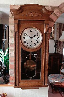 Antique German 'Kienzle' 8-Day Oak Case Wall Clock with Westminster Chimes